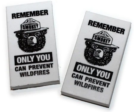 Smokey Bear Printed Erasers